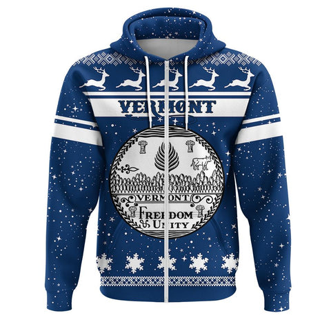 Vermont Coat Of Arms Zip Hoodie