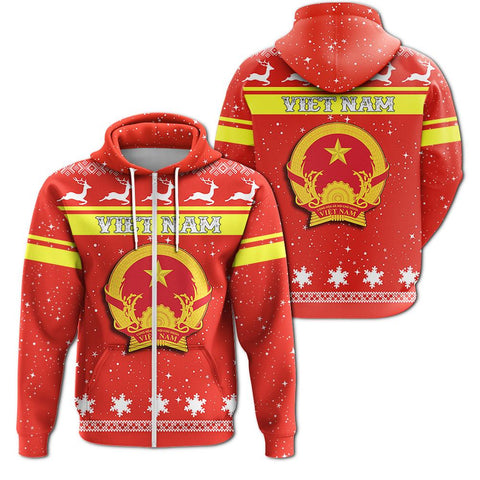 Christmas Viet Nam Coat Of Arms Zip Hoodie