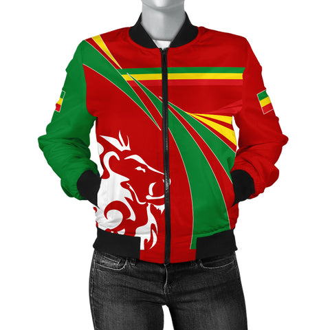 1stTheWorld Ethiopia Bomber Jacket, Ethiopia Swirly Lion Flag Women A10