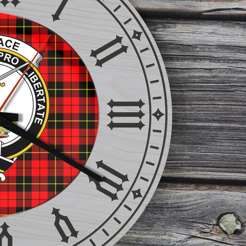 Image of Wallace Tartan Clan Badge Wooden Wall Clock - 2 Layers Version - BN