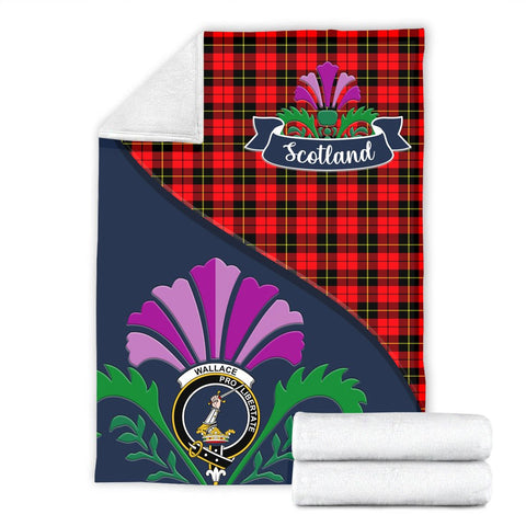 Image of Wallace Crest Tartan Blanket Scotland Thistle A30