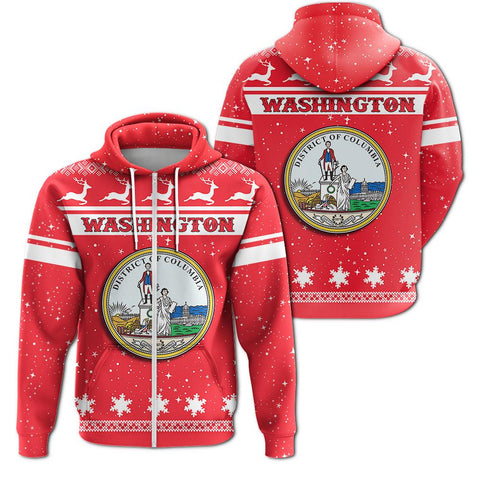 Christmas Washington Coat Of Arms Zip Hoodie