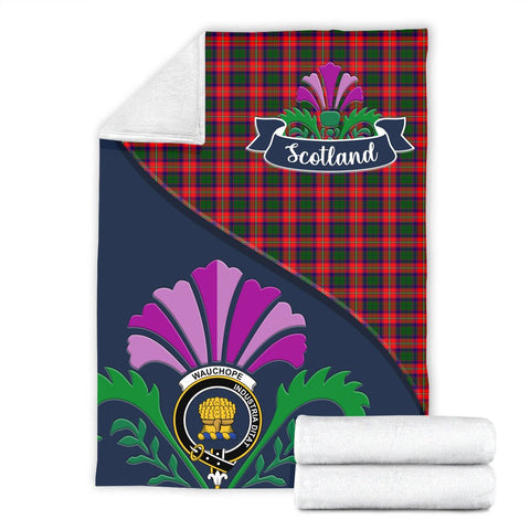 Image of Wauchope (or Waugh) Crest Tartan Blanket Scotland Thistle A30