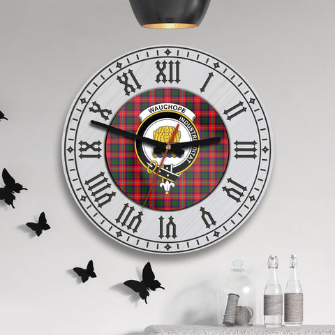 Wauchope (or Waugh) Tartan Clan Badge Wooden Wall Clock - 2 Layers Version - BN