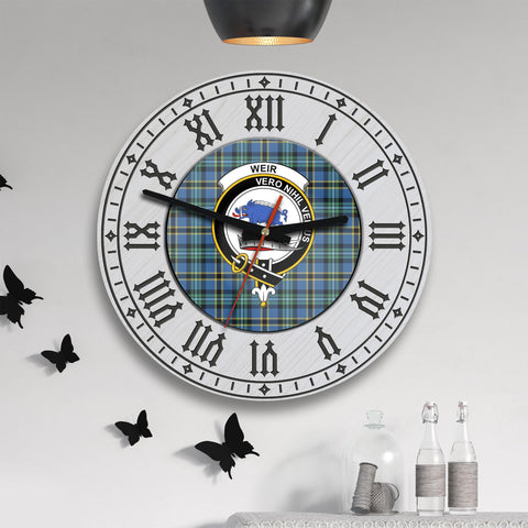 Image of Weir Tartan Clan Badge Wooden Wall Clock - 2 Layers Version - BN