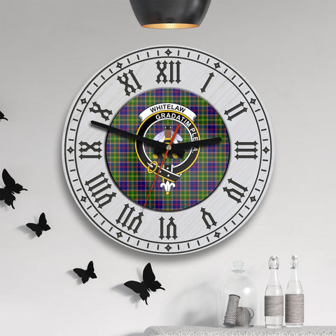 Image of Whitelaw Tartan Clan Badge Wooden Wall Clock - 2 Layers Version - BN