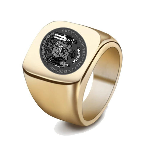 Image of Wisconsin Coat Of Arms Signet Ring