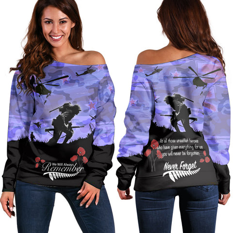 Anzac Day 2021 We Will Always Remember - Women's Off Shoulder Sweater A30