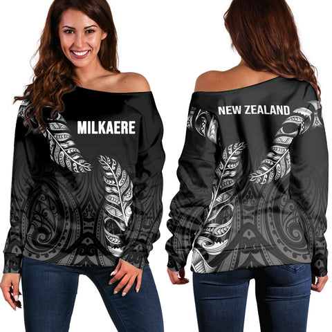 1stTheWorld Custom Aotearoa New Zealand - Maori Silver Fern Off Shoulder Sweaters Black A10
