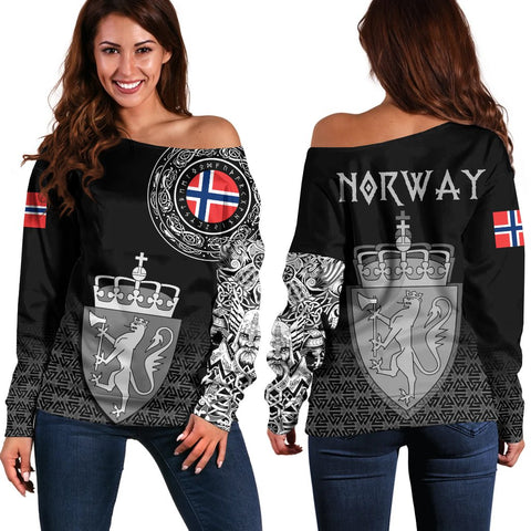 Viking Style Off Shoulder Sweater - Norway Coat Of Arms A31