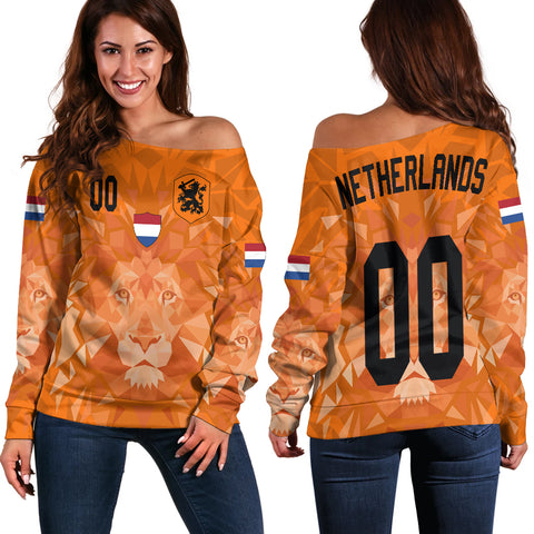 (Custom) Netherlands Lion Women's Off Shoulder Euro Soccer A27