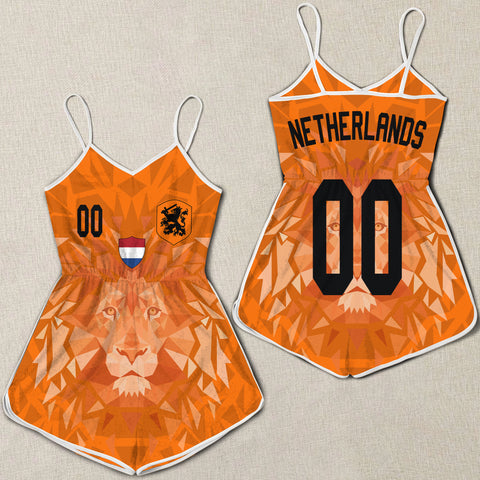 (Custom) Netherlands Lion  Women Rompers Euro Soccer A27