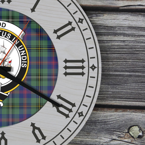 Image of Wood Tartan Clan Badge Wooden Wall Clock - 2 Layers Version - BN