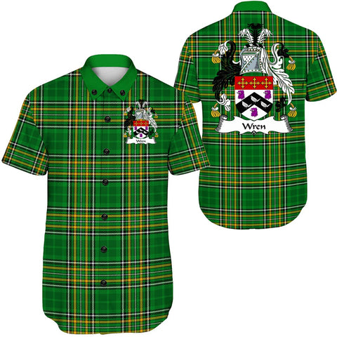 Image of Wren or Wrenn Ireland Short Sleeve Shirt - Irish National Tartan A7