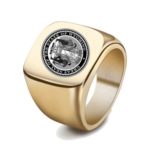 Wyoming Coat Of Arms Signet Ring