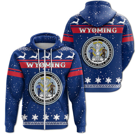 Christmas Wyoming Coat Of Arms Zip Hoodie