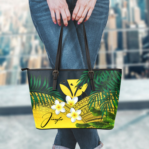 (Custom) Kanaka Maoli (Hawaiian) Leather Tote Bag, Polynesian Plumeria Banana Leaves Yellow Personal Signature A02