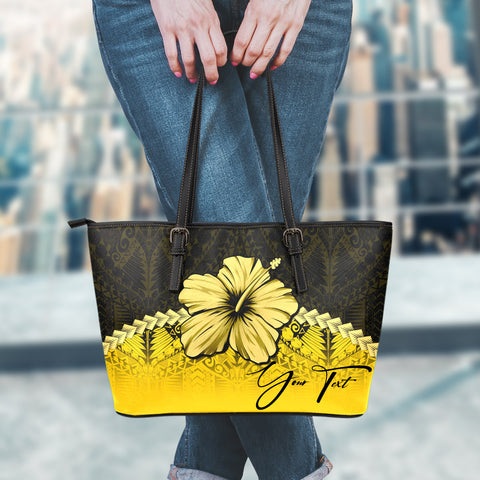 Image of (Custom) Polynesian Leather Tote Bag Hibiscus Personal Signature Yellow A02