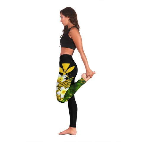 Image of (Custom) Kanaka Maoli (Hawaiian) Leggings, Polynesian Plumeria Banana Leaves Yellow Personal Signature A02