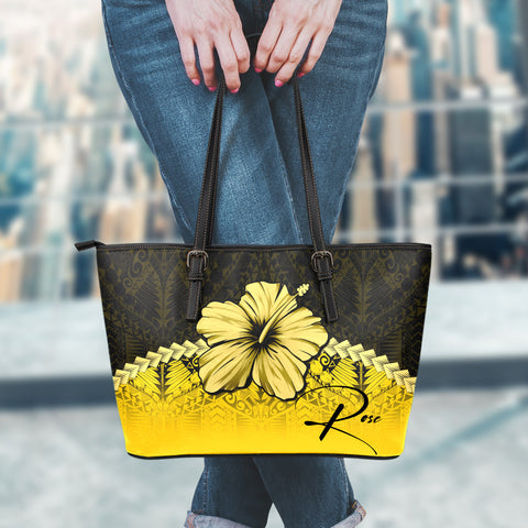 (Custom) Polynesian Leather Tote Bag Hibiscus Personal Signature Yellow A02