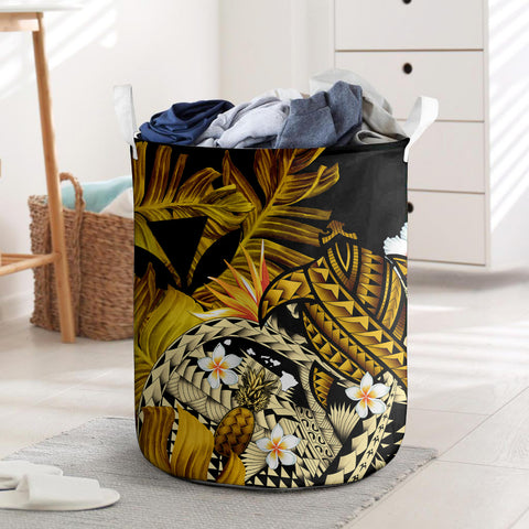 Image of  Kanaka Maoli (Hawaiian) Laundry Basket, Polynesian Pineapple Banana Leaves Turtle Tattoo Yellow I Love The World