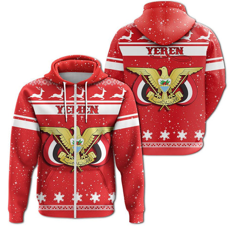Christmas Yemen Coat Of Arms Zip Hoodie