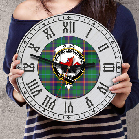Young Tartan Clan Badge Wooden Wall Clock - 2 Layers Version - BN