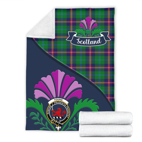 Young Crest Tartan Blanket Scotland Thistle A30