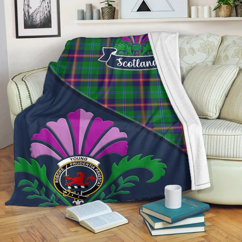 Image of Young Crest Tartan Blanket Scotland Thistle | Tartan Home Decor | Scottish Clan