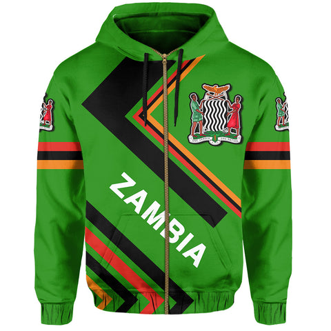 Image of Zambia Flag Hoodie Zip - Africa Nations - J6