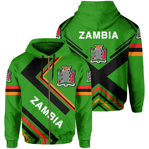 Zambia Flag Hoodie Zip - Africa Nations