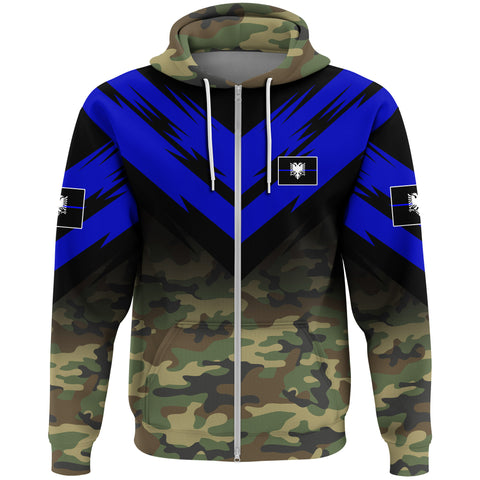 Albania Flag Zip Hoodie- Based Version Of The Thin Blue Line Symbol A25