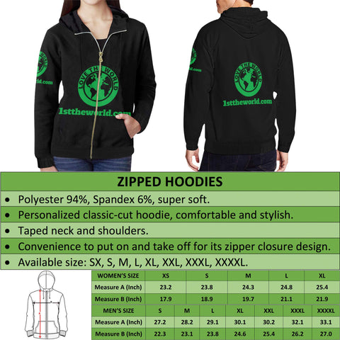 Irish Hoodie Zipper Shamrock Celtic Cross A18