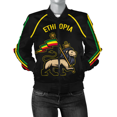 Image of 1stTheWorld Ethiopia Bomber Jacket Flag Lion Black A10