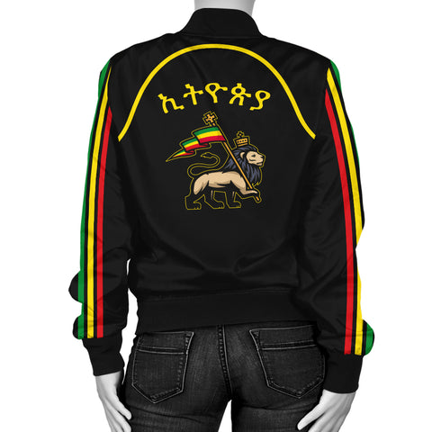 1stTheWorld Ethiopia Bomber Jacket Flag Lion Black A10