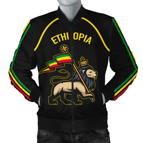 Image of 1stTheWorld Ethiopia Bomber Jacket Flag Lion Black Men A10