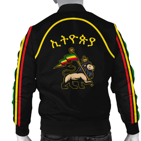 1stTheWorld Ethiopia Bomber Jacket Flag Lion Black Men A10