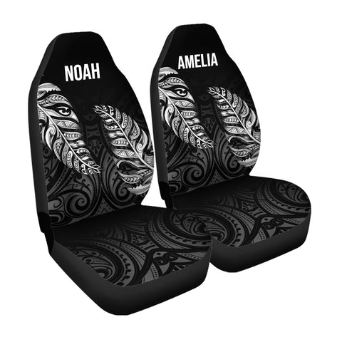 1stTheWorld Custom Aotearoa New Zealand - Maori Silver Fern Car Seat Cover Black A10