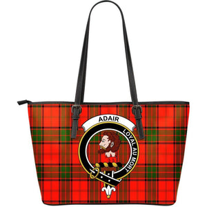Adair Tartan Clan Badge Large Leather Tote Bag W7 Totes