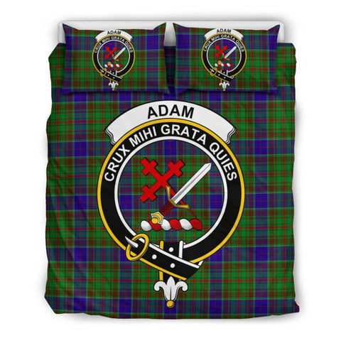 Image of Adam Clan Badge Tartan Bedding Set Th1 Bedding Set - Black Black / Queen/full Sets
