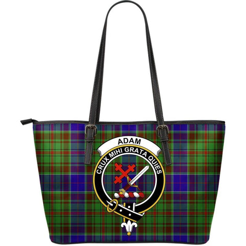 Adam Tartan Clan Badge Large Leather Tote Bag W7 Totes