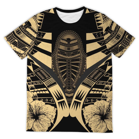 Polynesian Tattoo T Shirt Hibiscus Gold - Front  2