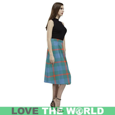 baby blue Crepe Skirt, tartan blue skirt