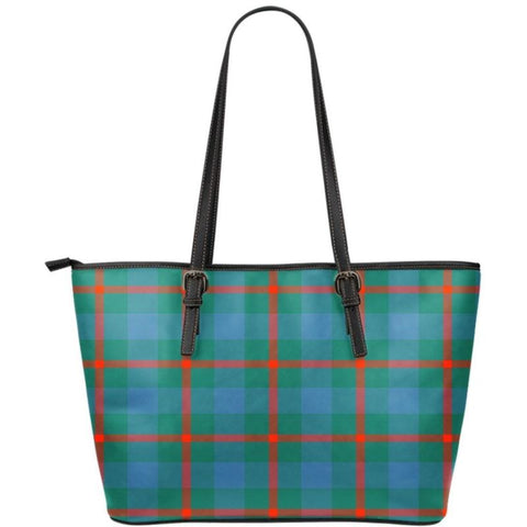 Agnew Ancient Tartan Small Leather Tote Bag Nl25 Totes