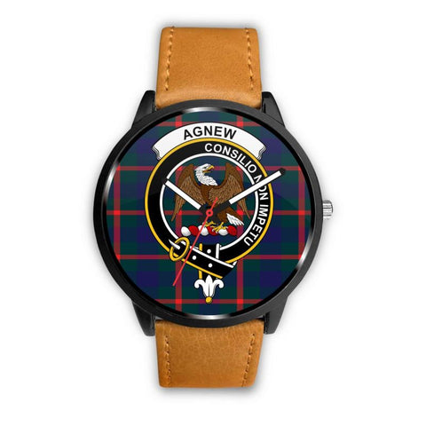 Agnew Modern Clan Badge Tartan Leather/steel Watch P1 Mens 40Mm / Brown Leather-Steel Watches