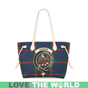Agnew Modern Tartan Handbag - Tartan Clan Badge Large Leather Tote Bag Nn5