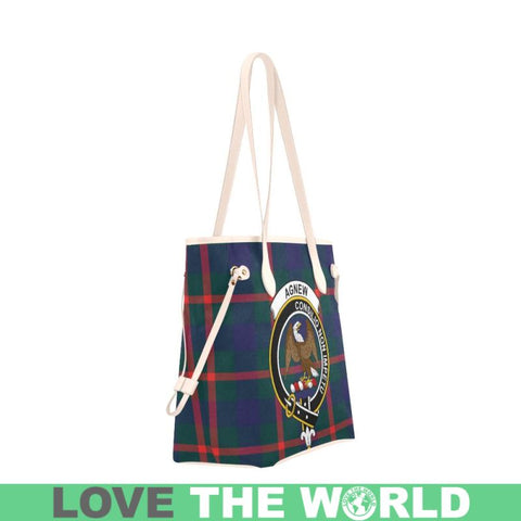 Agnew Modern Tartan Clan Badge Clover Canvas Tote Bag C33 Bags