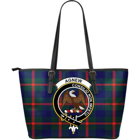 Agnew Modern Tartan Clan Badge Large Leather Tote Bag W7 Totes