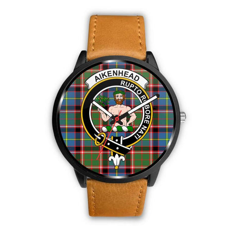 Aikenhead Clan Badge Tartan Leather/steel Watch P1 Mens 40Mm / Brown Leather-Steel Watches