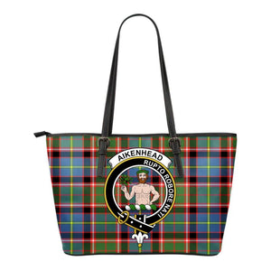 Aikenhead Tartan Clan Badge Small Leather Tote Bag C20 Totes